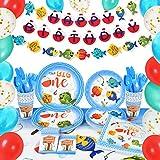 WERNNSAIPescar Suministros para la Fiesta Set - Decoraciones de Fiesta & Vajilla para ChicosMantelPlatosTazas ServilletasBandera Globos Sirve 16 Invitados 89 PCS