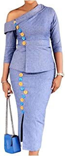 Candiyer 女性ツーピース斜めショルダーオフィススキニーソリッドカラーOLトップとスカートスーツ