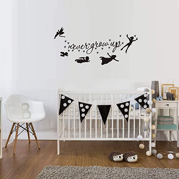 WOVTCP 彼得潘人物墙贴花永不长大引用星星墙贴婴儿托儿所儿童卧室墙壁装饰