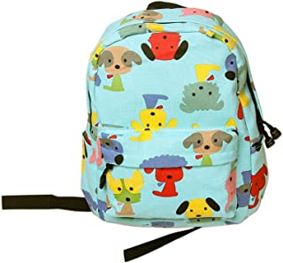 Cute Puppy School Bag Children's Backpack Travel Canvas Backpacks Purse Blue Dog