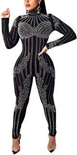 Women's Black Sexy Long Sleeve Sequin Pearl See Through Sheer Mesh Bodycon Jumpsuits Long Romeper Pants Club Wear