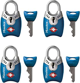 Master Lock 4689Q TSA Accepted Luggage Lock, 4 Pack, Assorted Colors