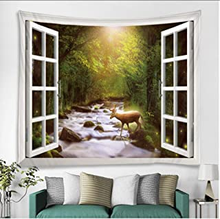 mubgo Tapestries Forest Stream Deer Printed Large Wall Tapestry Hippie Wall Hanging Bohemian Wall Tapestries Mandala Wall Art Decor 130x150cm