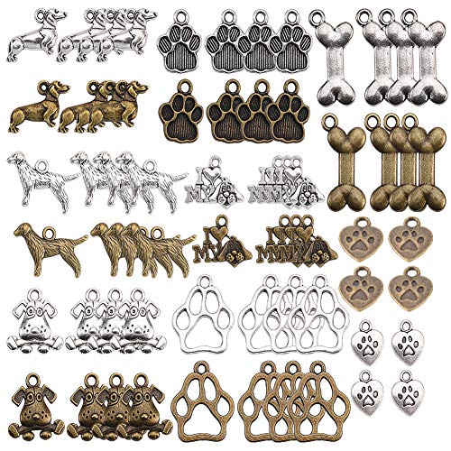 SUNNYCLUE 64pcs 16 Estilos Pet Dog Puppy Paw Print Metal Footprint Animal Colgante Charm para DIY Collar Pulsera Pendiente Joyería Fabricación, Sin Plomo Y Níquel, Bronce Antiguo Y de Plata Antigua