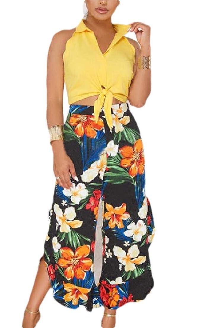 ギャラリーモバイル腐ったWomen Sexy Two Piece Outfits Crop Top and Wide Leg Jumpsuit Pant Suits Set