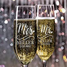 P Lab Set of 2, Mr. Mrs. Heart Last Name & Date, Personalized Wedding Champagne Flutes, Wedding Toasting Glasses for Bride and Groom - Customized Etched Flutes of Wedding Gift #N5