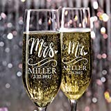 P Lab Set of 2, Bride and Groom Champagne Glasses w/ Last Name & Date, Personalized Mr. Mrs. Engagement & Wedding Champagne Flutes, Toasting Glasses - Customized Etched Flutes, Wedding Gift #N5
