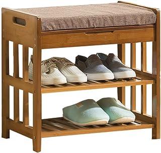 Étagères à chaussures Range-chaussures , Bambou Étagère à chaussures Banc avec tiroir de rangement sur le dessus Rangement...