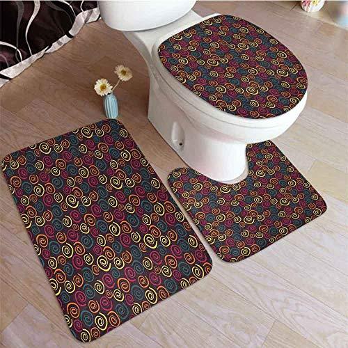 Juego de 2 alfombrillas de baño para inodoro, diseño de mosaico, diseño floral y contemporáneo, para…