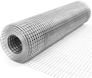 48'' x 50' Hardware Cloth 2 inch Openings 14Gauge Multipurpose Galvanized Welded Wire Fence Animal Enclosure Mesh Net for Flowerbed Vegetables Garden Poultry Cage Rabbit Chicken Coop Easy to Cut