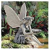 Gartendeko Garten Ornament Sitzen Magische Fee, Sitzende Elfen Gartenfiguren, Tudor und Turek Sitzen Fee Statue, Harz Handwerk Landschaftsbau Hof Dekoration Garten Statue Elf Statue Figur Fee Fairy