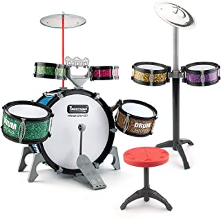 13 Pieces Toddlers Jazz Drum Set Musical Playset Toy Perccussion Instrument Kit for Kids Present for Boys and Girls