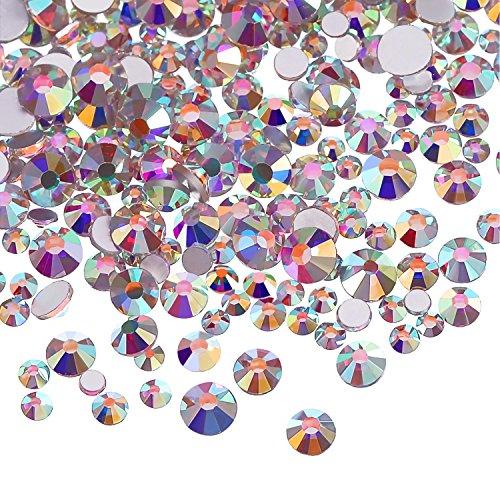 3456 Piezas de Cristales AB de Uña Diamantes de Imitación de Arte de Uña Cuentas Redondas Gemas Planas Piedras de Uñas, 6 Tamaños para Manicura Maquillaje (Cristal AB, Mezclado SS3 4 5 6 8 10)
