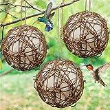 YYK Set of 3 Globe Hummingbird Nesters - Bird Nesting Material Holder – Cotton Balls Hummingbird Nesting Material for Wild Birds Wrens Finches - Refillable Outdoor Bird Nesting Station to Build a Nest