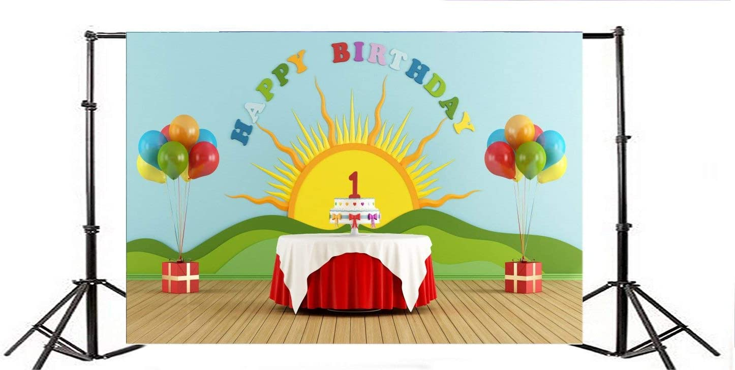 SZZWY 7x5ft Baby Blue Sky Cloud Decoration Balloons Red Pink Yellow Green Balloons Wall Vinyl Photo Background Studio Props