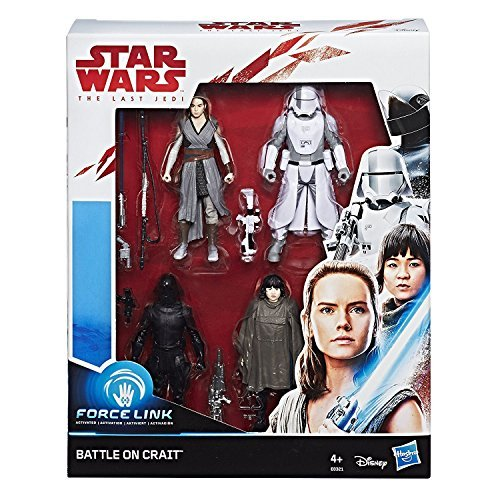 Hasbro Star Wars- Battaglia di Crait Force Link, Pack da 4 Personaggi, Multicolore, E0321EU4