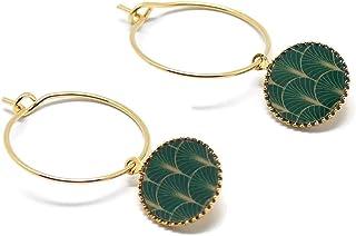 Mini orecchini cerchio art deco fan Giappone ottone verde oro resina fine 24K regali personalizzati regalo di natale amici...