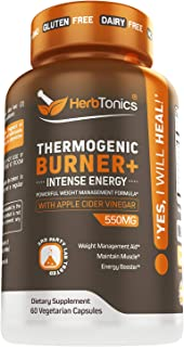 Thermogenic Fat Burner with Apple Cider Vinegar, Green Tea Extract, Acetyl L-Carnitine Weight Loss Supplement for Women an...