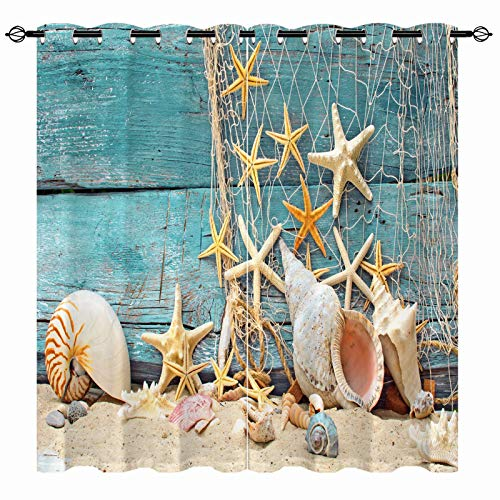 ANHOPE Seashell Starfish Curtains, Beach Theme Conch Shell Nautical Blue Wooden Pattern Semi Blackout Curtains Print Grommet Window Drapes for Kids Boys Bedroom Living Room 2 Panels W27.5 x L39