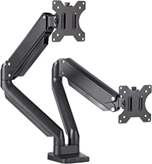 FEZIBO Dual Monitor Desk Mount Stand - Height Adjustable Monitor Arm Stand Fully Articulating Counterbalance Gas Spring Desk Mount Fits for 2 Computer Screens 17 to 32 inches