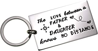 LParkin Father Daughter Long Distance Keychain Gifts - The Love Between Father and Daughter Knows No Distance Keychains Keyring Gift for Father