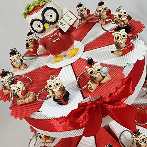 Sindy Bomboniere MK-0003 Torta Bomboniere Laurea Portaconfetti con Portachiavi, Acrilico, Bianco Rosso, 8 cm