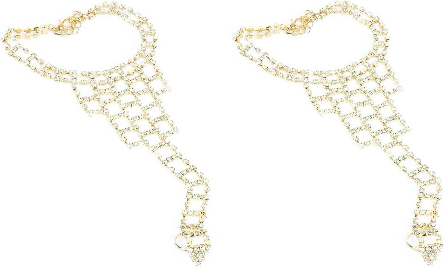 Fashion Jewelry ~ Pair of Rhinestones Toe Ring Anklet (MMK83129GD CLEAR