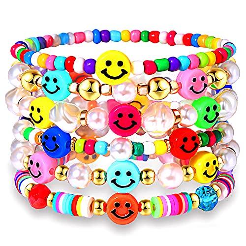 Pulseras elásticas con cuentas para mujer de colores arcilla, fruta sonriente pulsera de cuentas arco iris Heishi Set de pulseras apilables de perlas Y2K accesorio de playa de verano