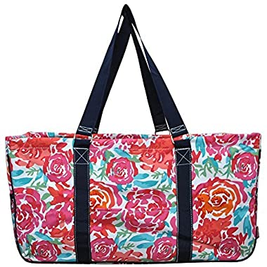 N. Gil All Purpose Open Top 23  Classic Extra Large Utility Tote Bag 2017 Spring Collection (All Flowers Navy)