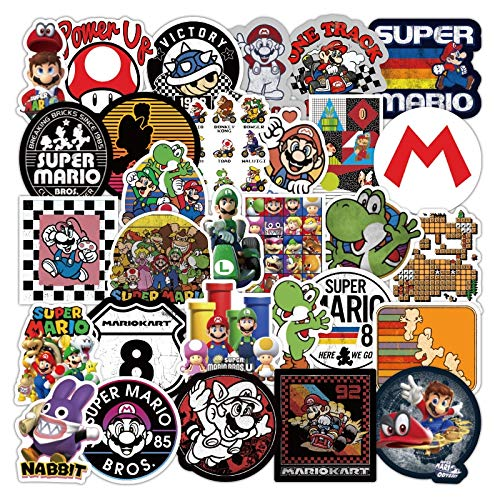 Pack Anime Super Mario Game Stickers Waterproof Suitcase Laptop Guitar Skateboard Toy Kids Cartoon Decal Stickers 50Pcs