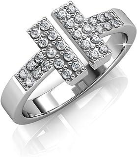 FAPPAC 双杆 T 型戒指富含施华洛世奇水晶