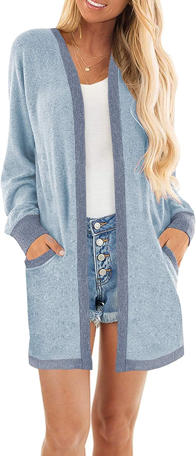 MIHOLL Womens Lightweight Color Block Long Sleeves Open Front Cardigan with Pockets