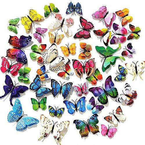 Magnet LIZHIGE Schmetterling Wandaufkleber,60 St/ück 3D Schmetterling Aufkleber Kunststoff Schmetterling Dekorationen Bunte Schmetterlinge f/ür Wohnung Raumdekoration Klebepunkten