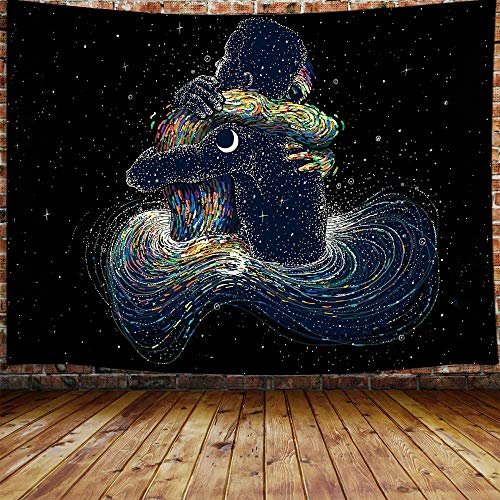 """Trippy Star Moon Small Tapestry, Psychedelic Galaxy Lovers Tarot Card Aesthetic blacklight Tapestry Wall Hanging for Bedroom, Black and White Tapestry College Dorm Home Decor (60"""" W X 40"""" H)"""