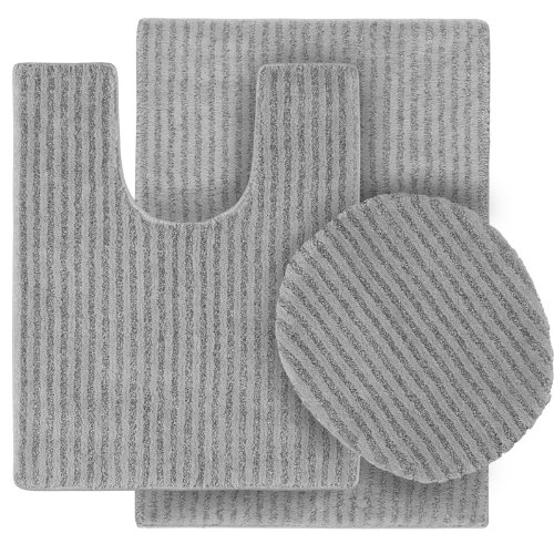Garland Rug 3-Piece Sheridan Nylon Washable Bathroom Rug Set, Platinum Gray