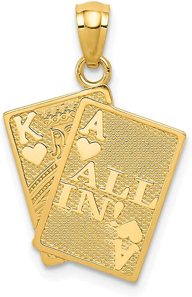 14k Yellow Gold Ace Of Hearts King All In! Cards Pendant Charm Necklace Gambling Fine Jewelry For Women Gifts For Her