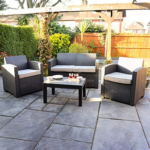 Wido - Juego de mesa y sillas con efecto ratán para jardín, 4 piezas