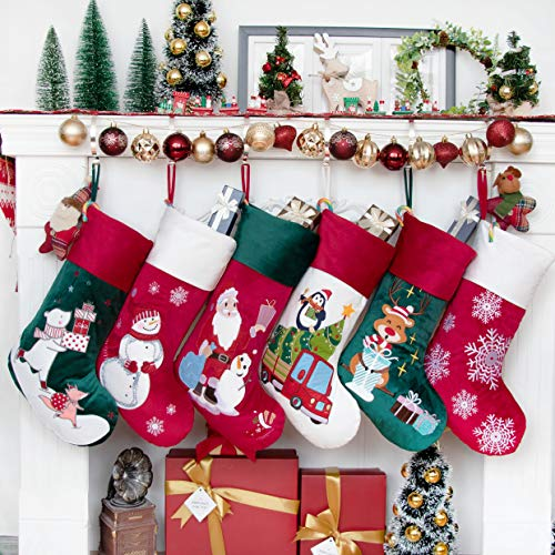 BHD BEAUTY Luxury Velvet Lovely Embroidery Pattern Set of 6 Christmas Stockings for Family Classic Fireplace Decorations Hanging Ornament for Xmas Holiday Party 21 inches