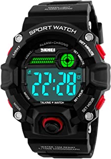 Whatsko Men Sport Watch Talking Music Alarm Snooze LED Digital Watches Outdoor Military Shockproof Luminous Watch(Red)