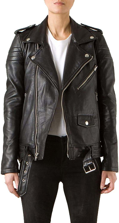 Vintage Women's Slim Biker Motorcycle Real Leather Zipper Jacket W188