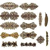 14 PCS Retro Vintage Metal French Barrette, Kalolary Vintage Bronze Hair clips, Jewelry Ac...