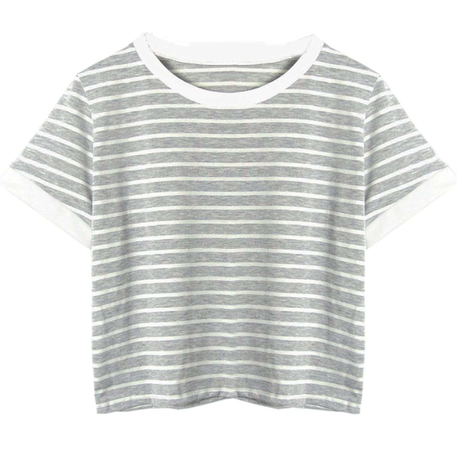 Hengshikeji Women O-Neck Striped Crop Top Short Sleeve Blouse Casual Shirt Teen Girls Tunic Jumper for Summer