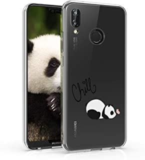 kwmobile TPU Silicone Case for Huawei P20 Lite - Crystal Clear Smartphone Back Case Protective Cover - Chill Panda Black/White/Transparent