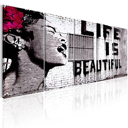 murando - Cuadro en Lienzo Banksy Life is beautiful 225x90 cm Impresión de 5 piezas Material Tejido no Tejido Impresión Artística Imagen Gráfica Decoracion de Pared Street Art Urban Mural i-C-0114-b-m
