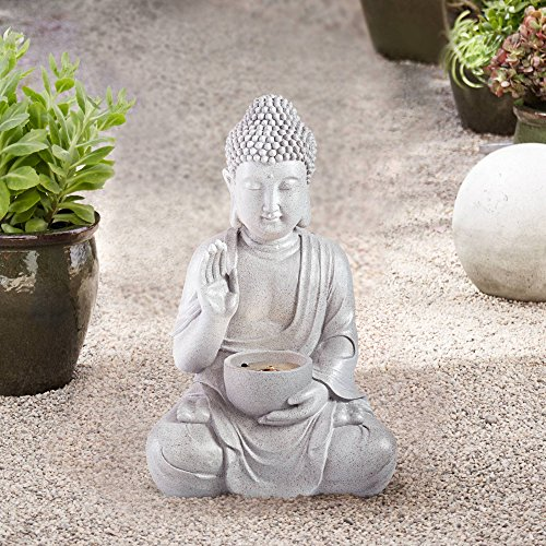 John Timberland Buddha Asian Zen Outdoor Water Fountain with Light LED 19' High Sitting for Table Desk Yard Garden Patio Deck Home
