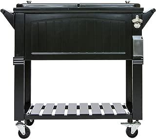 Permasteel 80 Quart Portable Rolling Patio Party Cooler, Antique Black