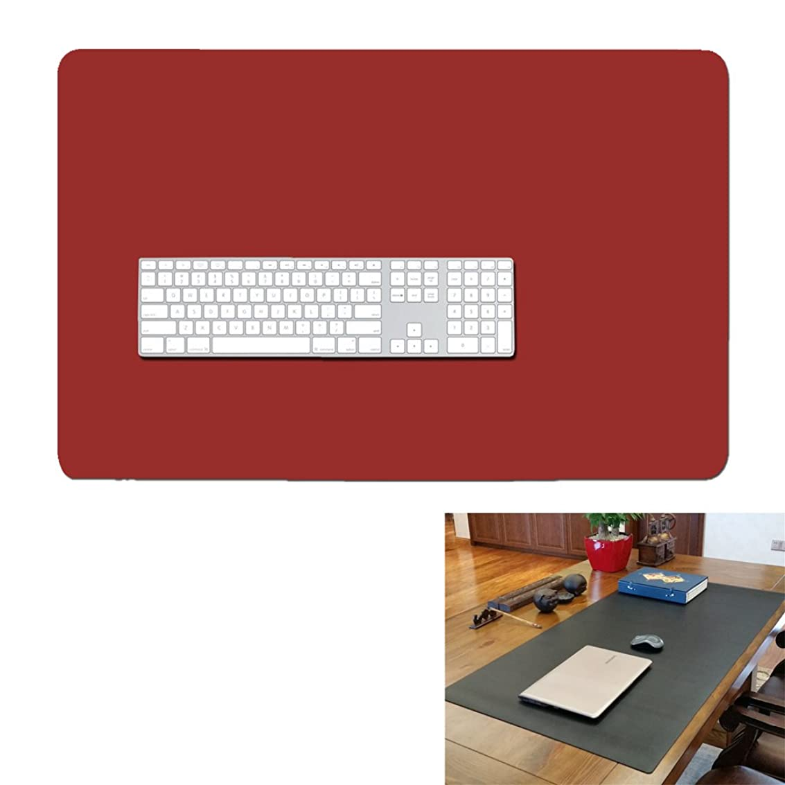 27'' 17'' Extended Gaming Mouse Pad- Large Waterproof Desk Mat- PU Leather Computer Mat for Office and Home (Wine red) zogir0195615283