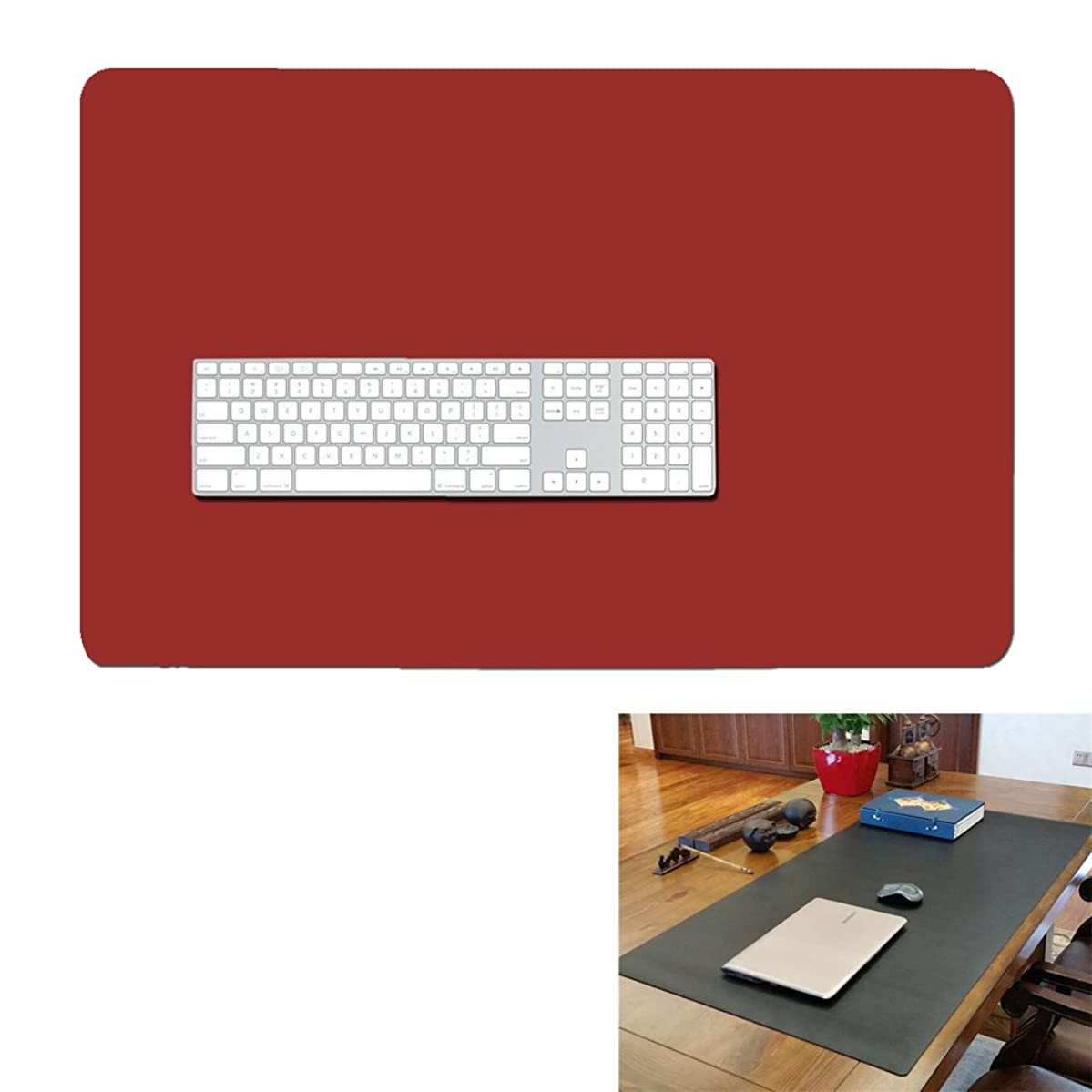 27'' 17'' Extended Gaming Mouse Pad- Large Waterproof Desk Mat- PU Leather Computer Mat for Office and Home (Wine red)