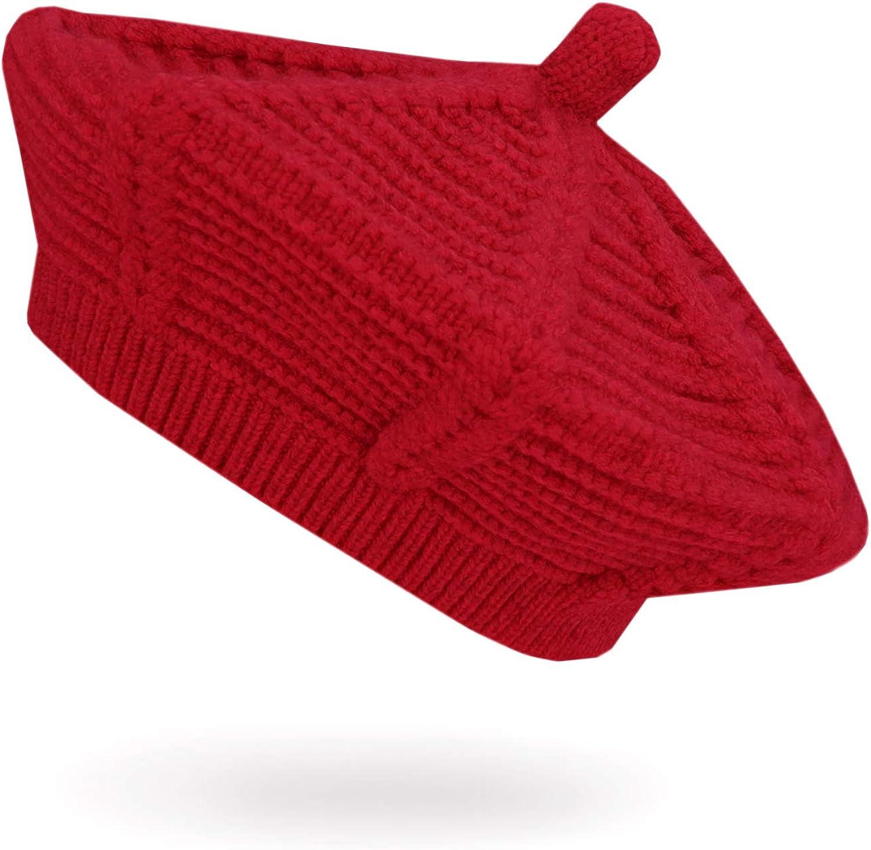 JELLYTREE Toddler Beret Hat Baby Girls French Artist Knit Hat Little Girls Warm Knitted Beret Kids Fashion Beanie, 1-4yr