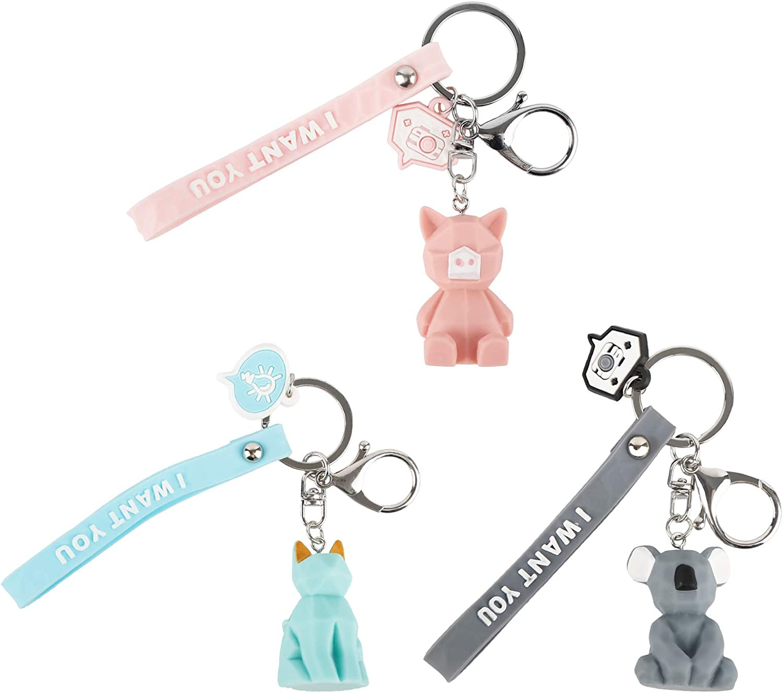 3 Pcs Cartoon Bombing new work Koala Cat Pig Year-end gift Pendant Rings Purse Key Chains K